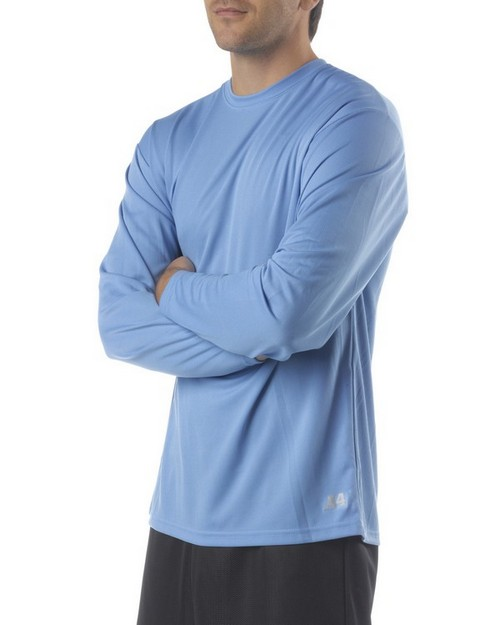 A4 N3253 Mens Long Sleeve Crew Birds Eye Mesh T-Shirt