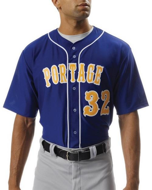 A4 N4184 Shorts Sleeve Full Button Baseball Top