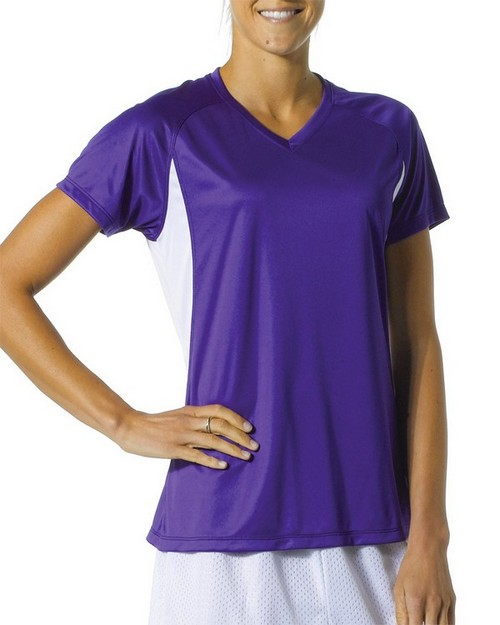 A4 NW3223 Ladies Color Block Performance V-Neck Shirt