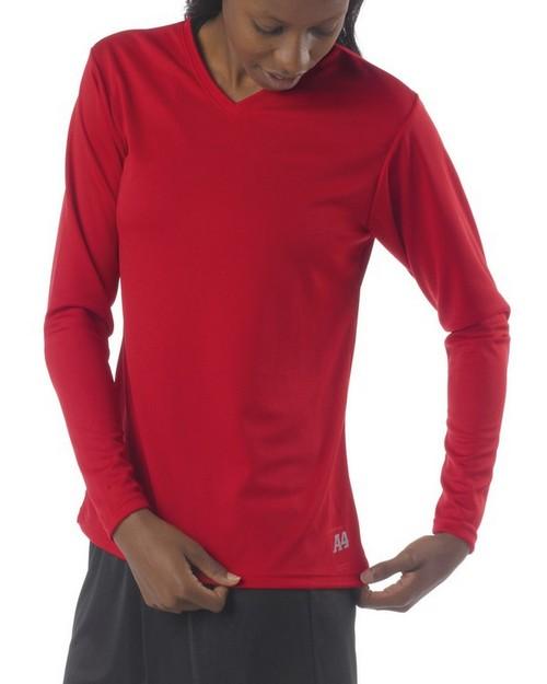 A4 NW3255 Ladies Long Sleeve V-Neck Birds Eye Mesh T-Shirt