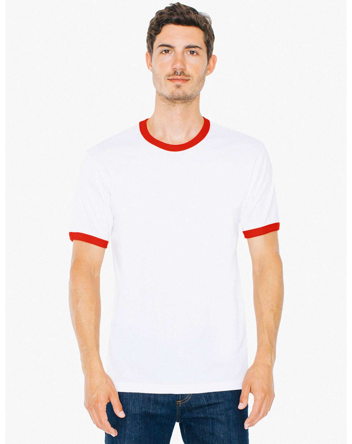American Apparel 2410W Unisex Fine Jersey Ringer T-Shirt