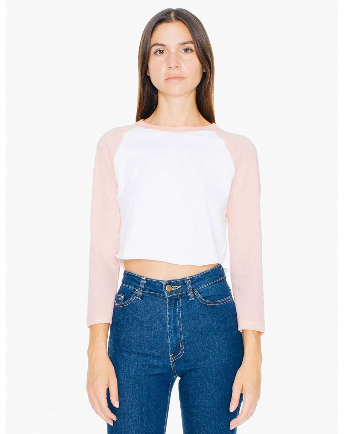 American Apparel ABB354W Ladies Poly-Cotton 3-Quarter-Sleeve Cropped T-Shirt