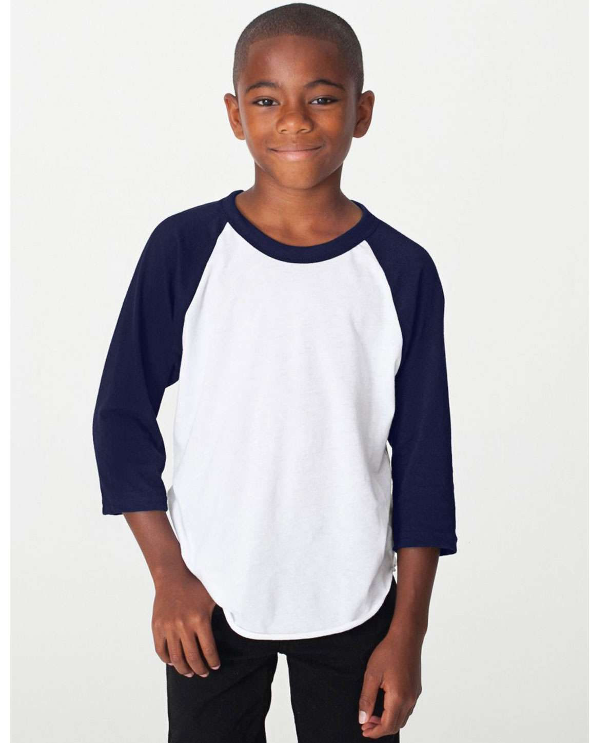 American Apparel BB253W Youth Poly-Cotton 3-Quarter-Sleeve T-Shirt