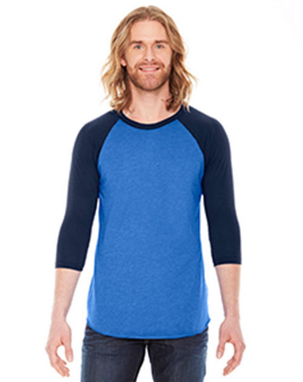 American Apparel BB453W Unisex Poly-Cotton 3-Quarter-Sleeve Raglan T-Shirt