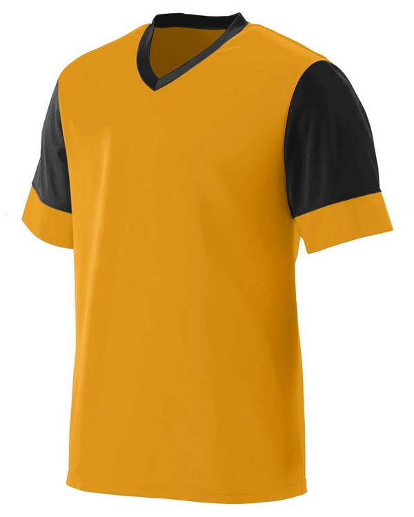 Augusta Sportswear 1600 Adult Wicking Polyester V-Neck Jersey with Contrast Sleeves