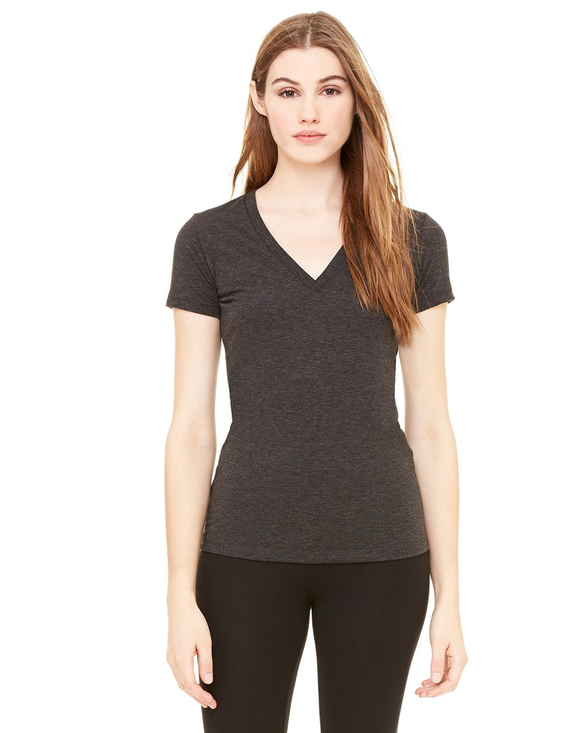 Bella + Canvas 8435 Ladies Triblend Short-Sleeve Deep V-Neck T-Shirt