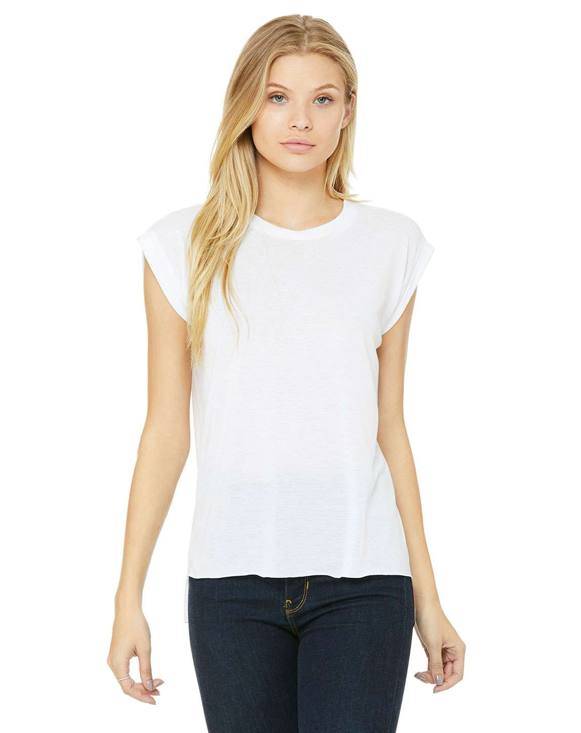 Bella + Canvas 8804 Ladies Flowy Muscle T-Shirt with Rolled Cuff