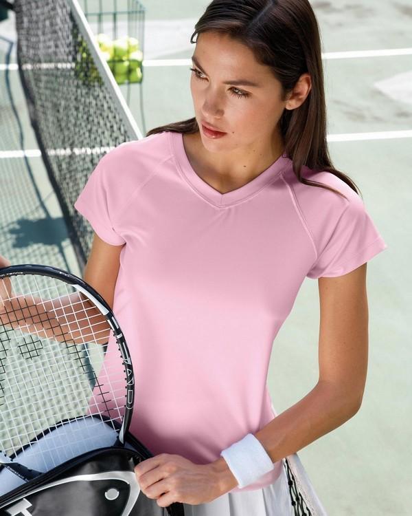 Champion CW23 Double Dry Ladies V-Neck T-Shirt