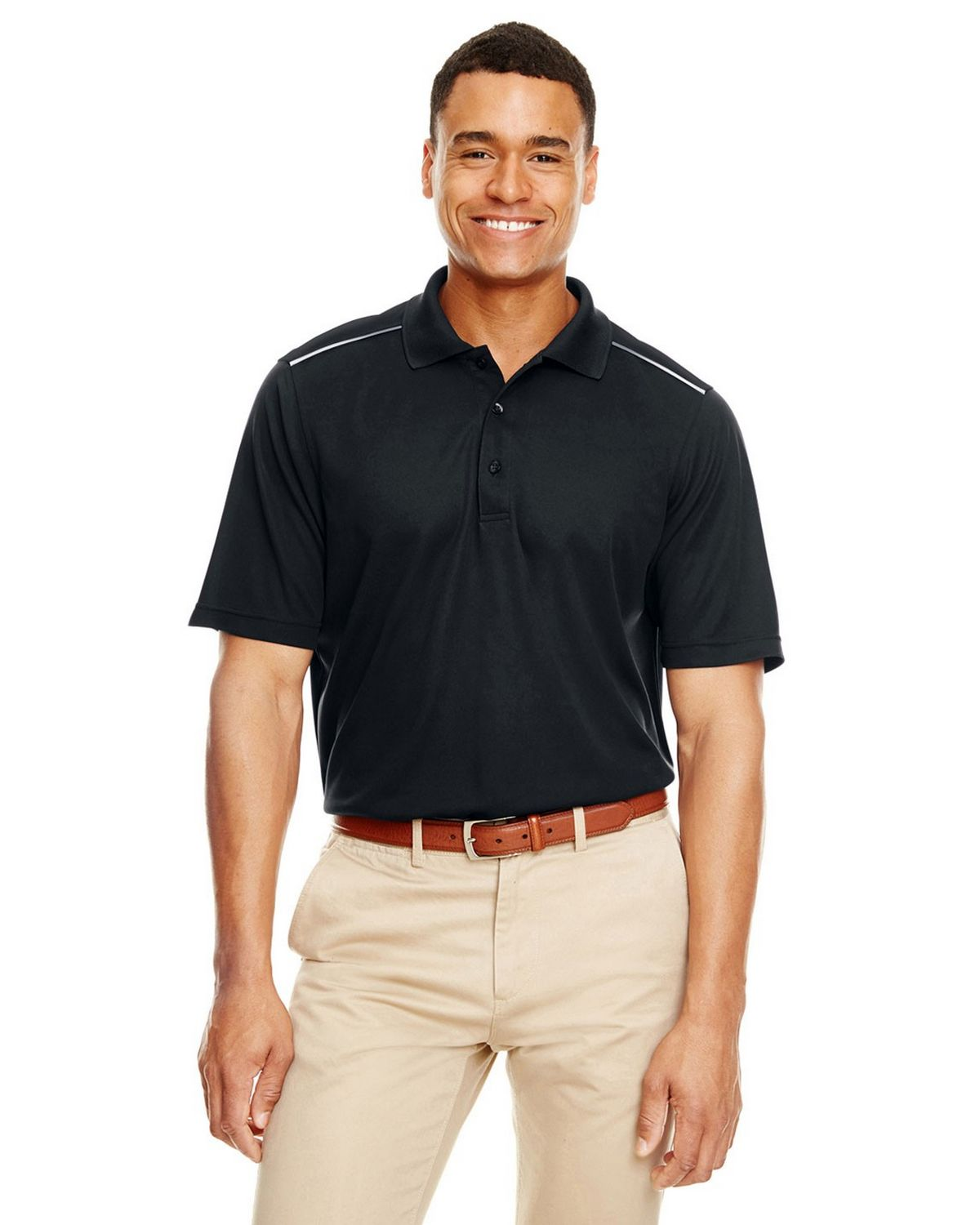 Core365 88181R Mens Radiant Reflective Piping Performance Pique Polo Shirt