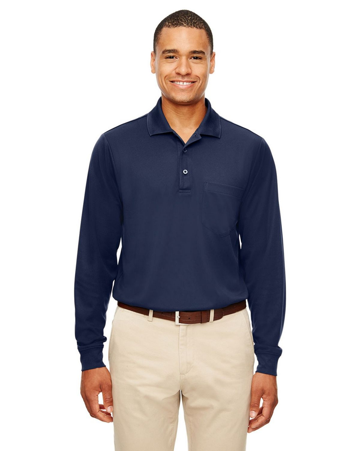 Core365 88192P Adult Pinnacle Performance Pique Long-Sleeve Polo with Pocket