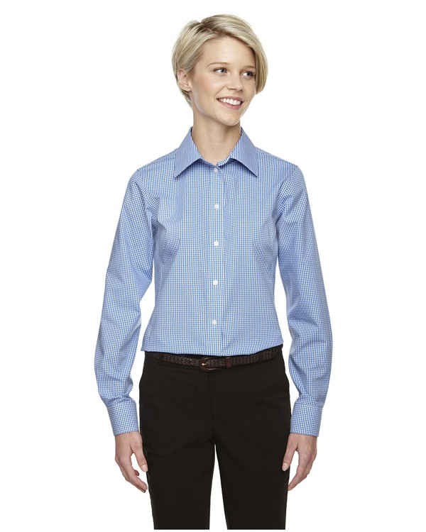 Devon  Jones D640W Ladies Crown Collection Gingham Check Dress Shirt