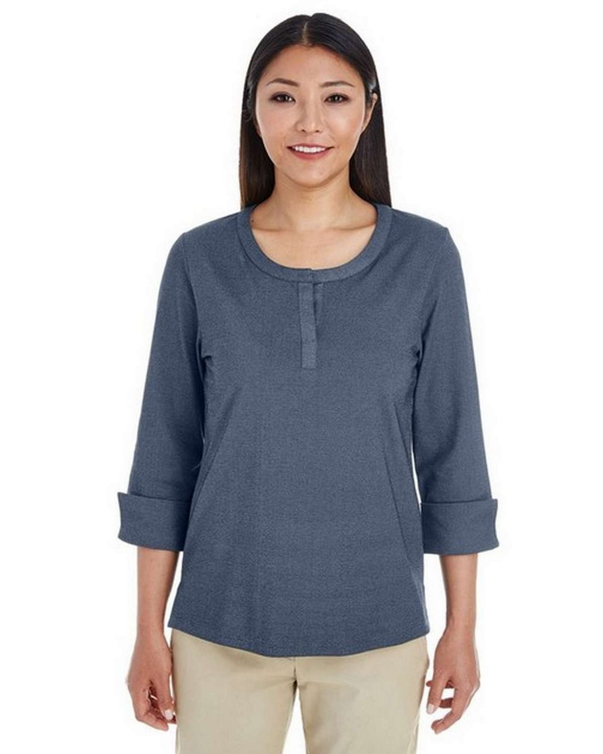 Devon  Jones DG230W Ladies Central Cotton Blend Melange Knit Top