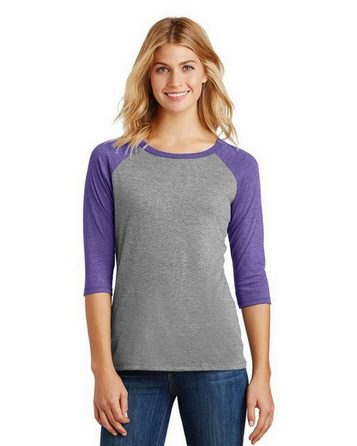 District DM136L Women Perfect Tri 3/4-Sleeve Raglan