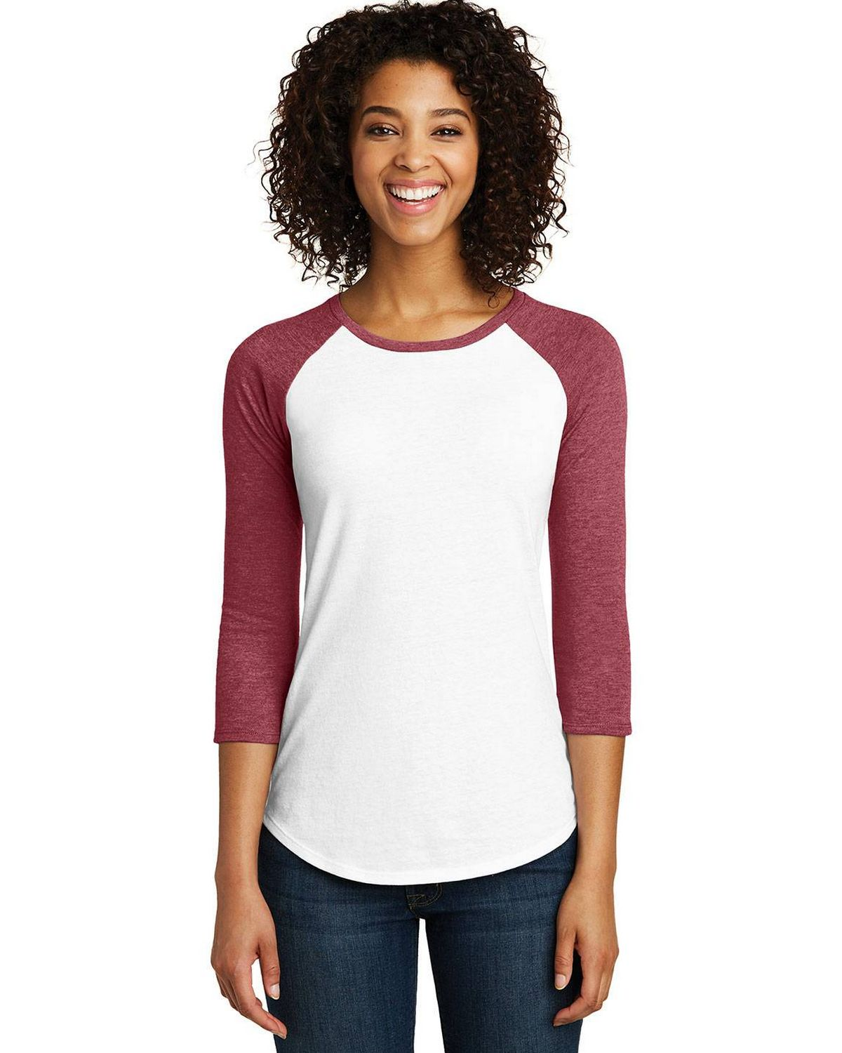 District DT6211 Womens Very Important 3/4 Sleeve Raglan T-Shirt