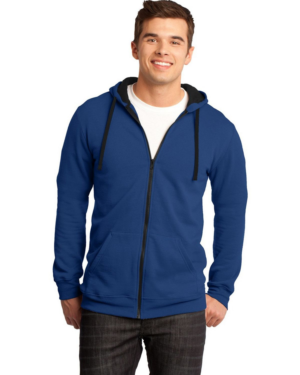 District DT800 Young Mens The Concert Fleece Full-Zip Hoodie