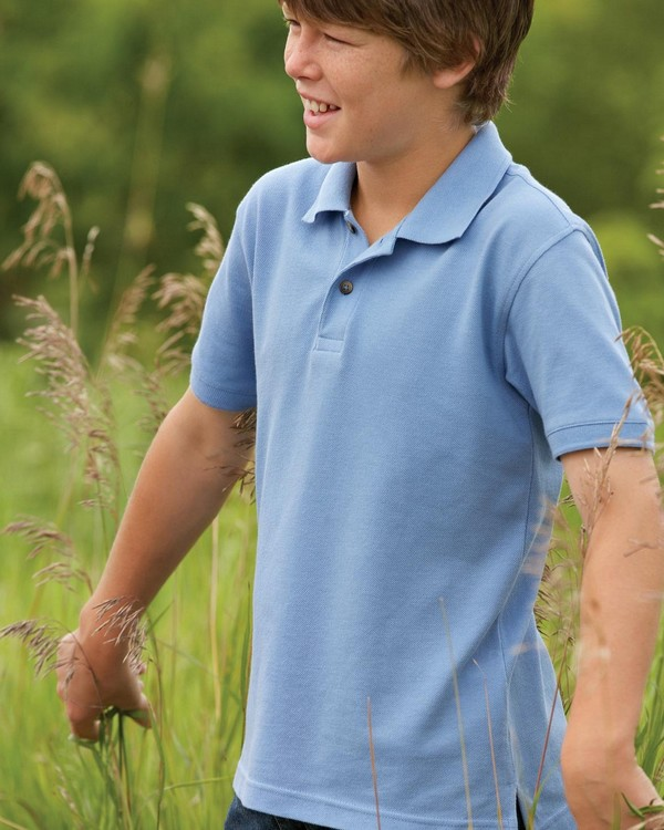 Harriton M200Y Youth Ringspun Cotton Pique Short-Sleeve Polo