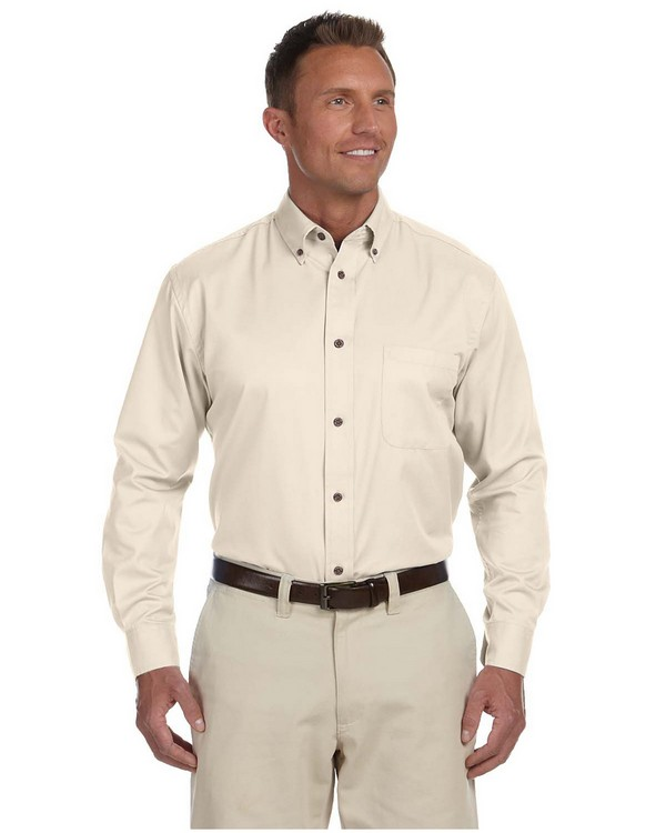 Harriton M500 Mens Easy Blend Long-Sleeve Twill Shirt Stain-Release