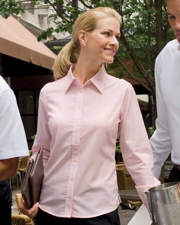 Harriton M600W Ladies Long-Sleeve Oxford with Stain-Release