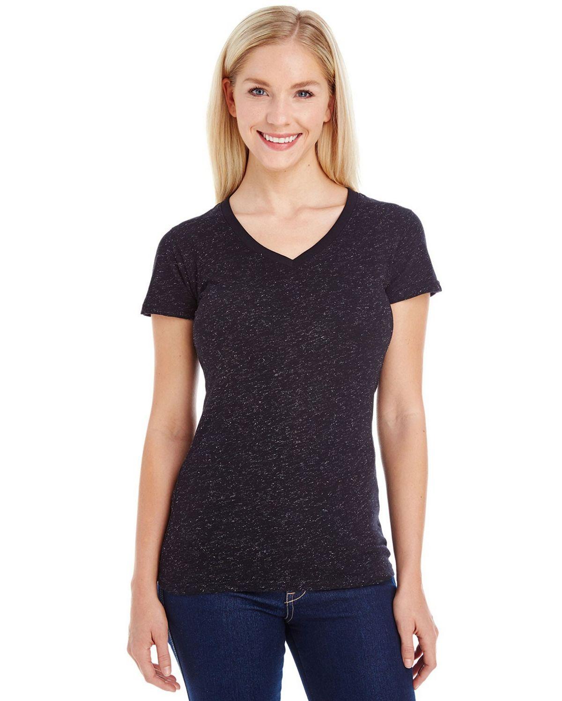 J America JA8136 Ladies Glitter V-Neck T-Shirt