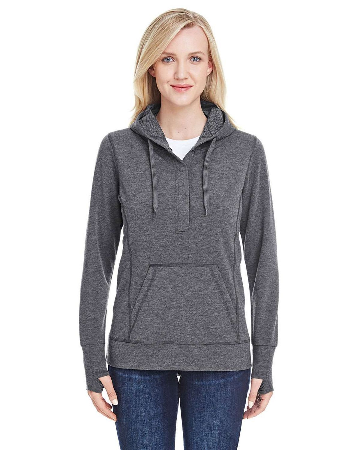 J America JA8431 Ladies Omega Stretch Snap Placket Hoodie