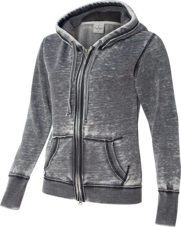 J America JA8913 Ladies Zen Full-Zip Fleece Hood
