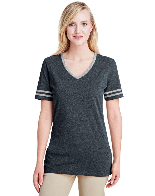 Jerzees 602WVR Ladies TRI-BLEND Varsity V-Neck T-Shirt