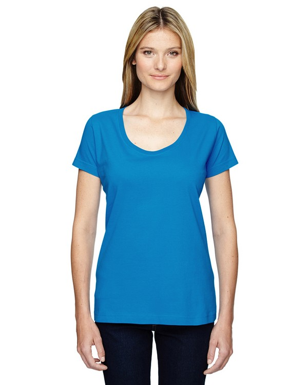 Lat 3504 Ladies Fine Jersey Deep Scoop Neck Longer Length T-Shirt