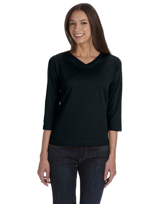 LAT 3577 Ladies Combed Ringspun Jersey V-Neck 3/4-Sleeve T-Shirt