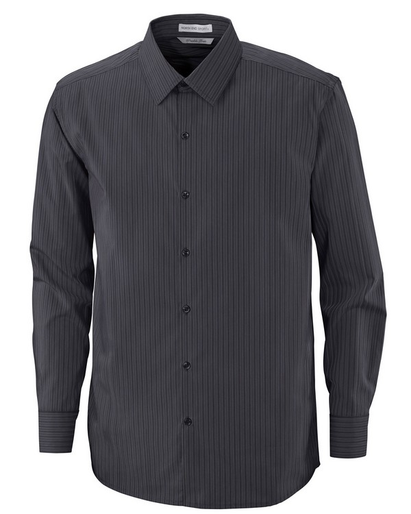 North End 88674 Boardwalk Mens Cotton Striped Taped Shirt