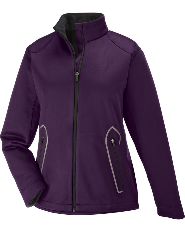 North End 78655 Ladies Splice Three-Layer Light Bonded Soft Shell Jacket with Laser Weldi