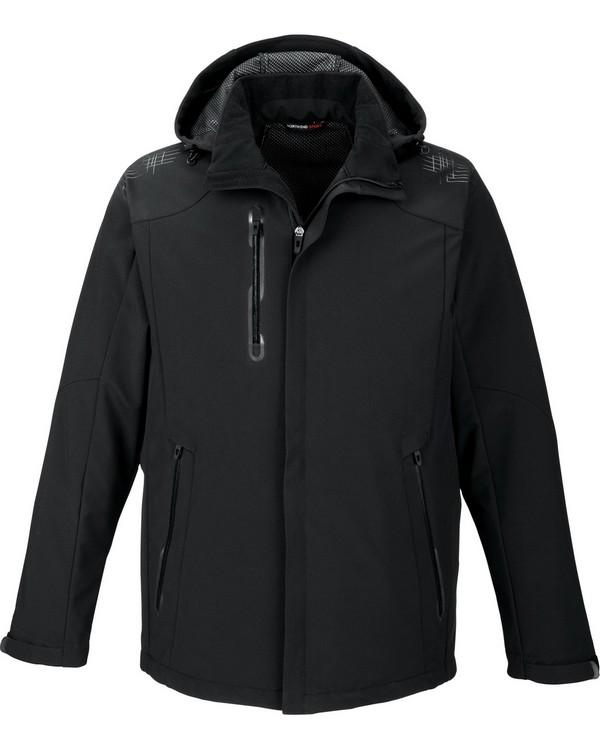 North End 88665 Mens Axis Soft Shell Jacket with Print Graphic Accents