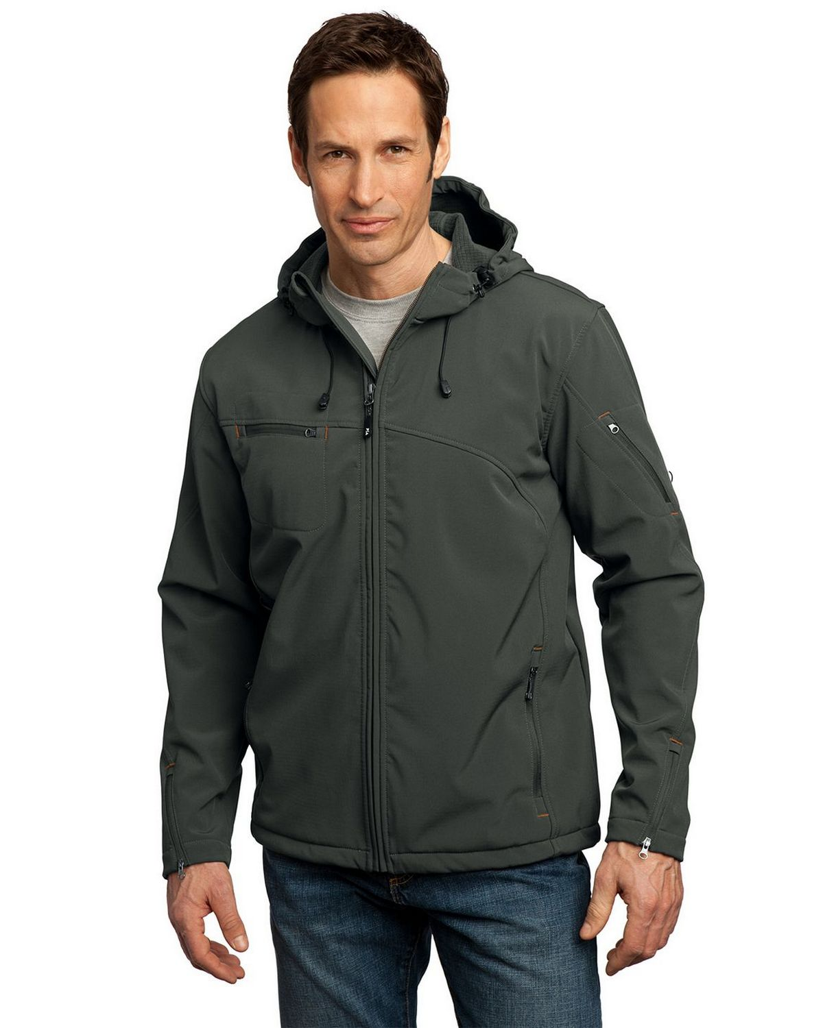 Port Authority J706 Textured Hooded Soft Shell Jacket