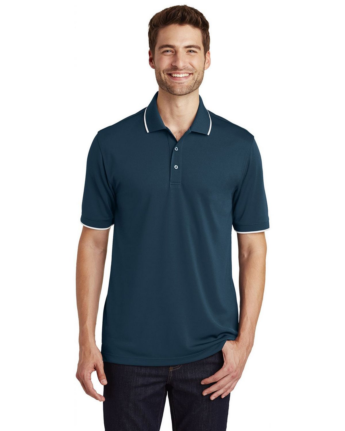 Port Authority K111 Mens Dry Zone UV Micro-Mesh Tipped Polo Shirt