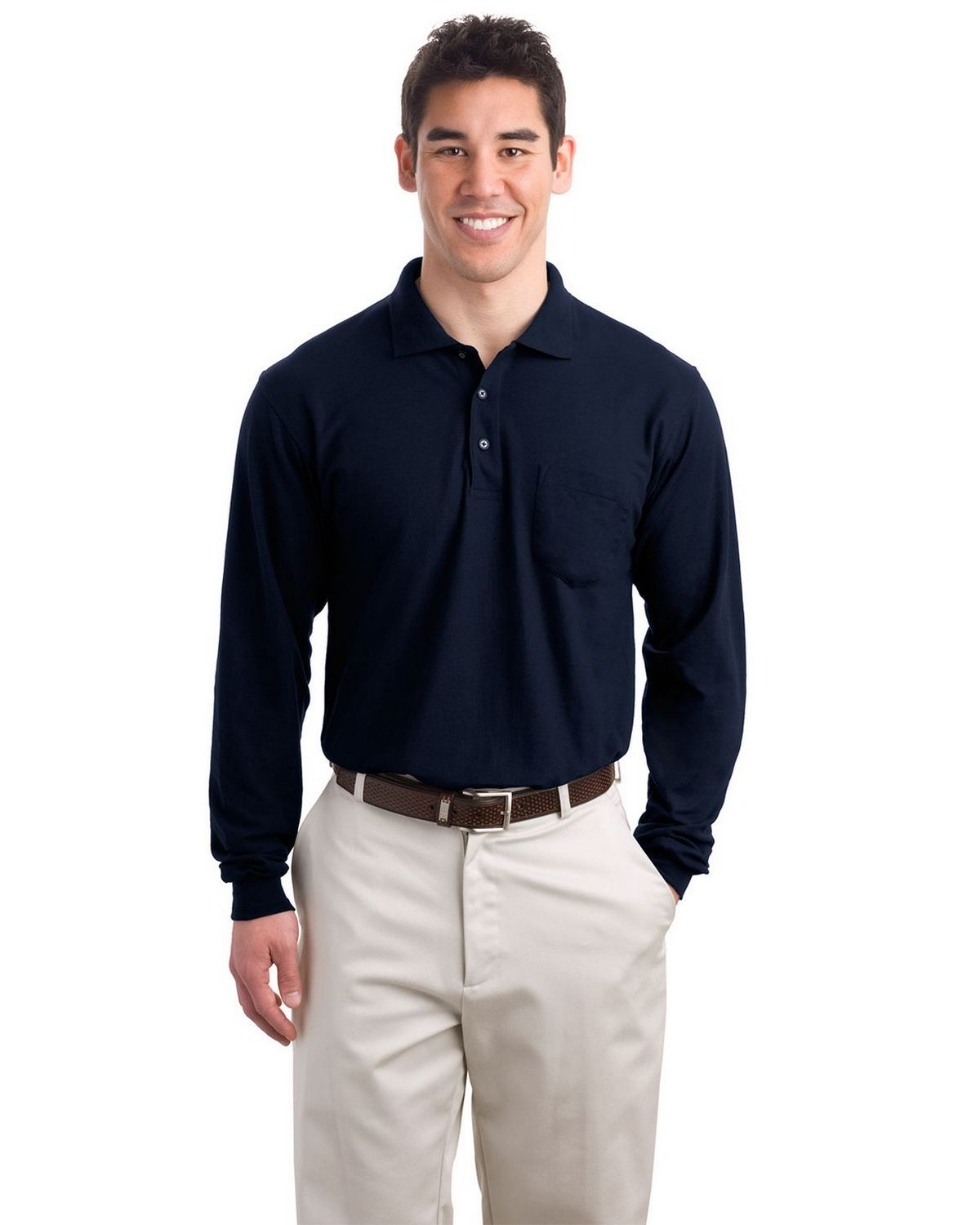 Port Authority K500LSP Long Sleeve Silk Touch Polo with Pocket