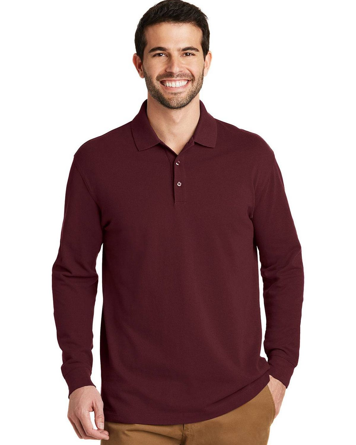 Port Authority K8000LS Mens EZCotton Long Sleeve Polo Shirt