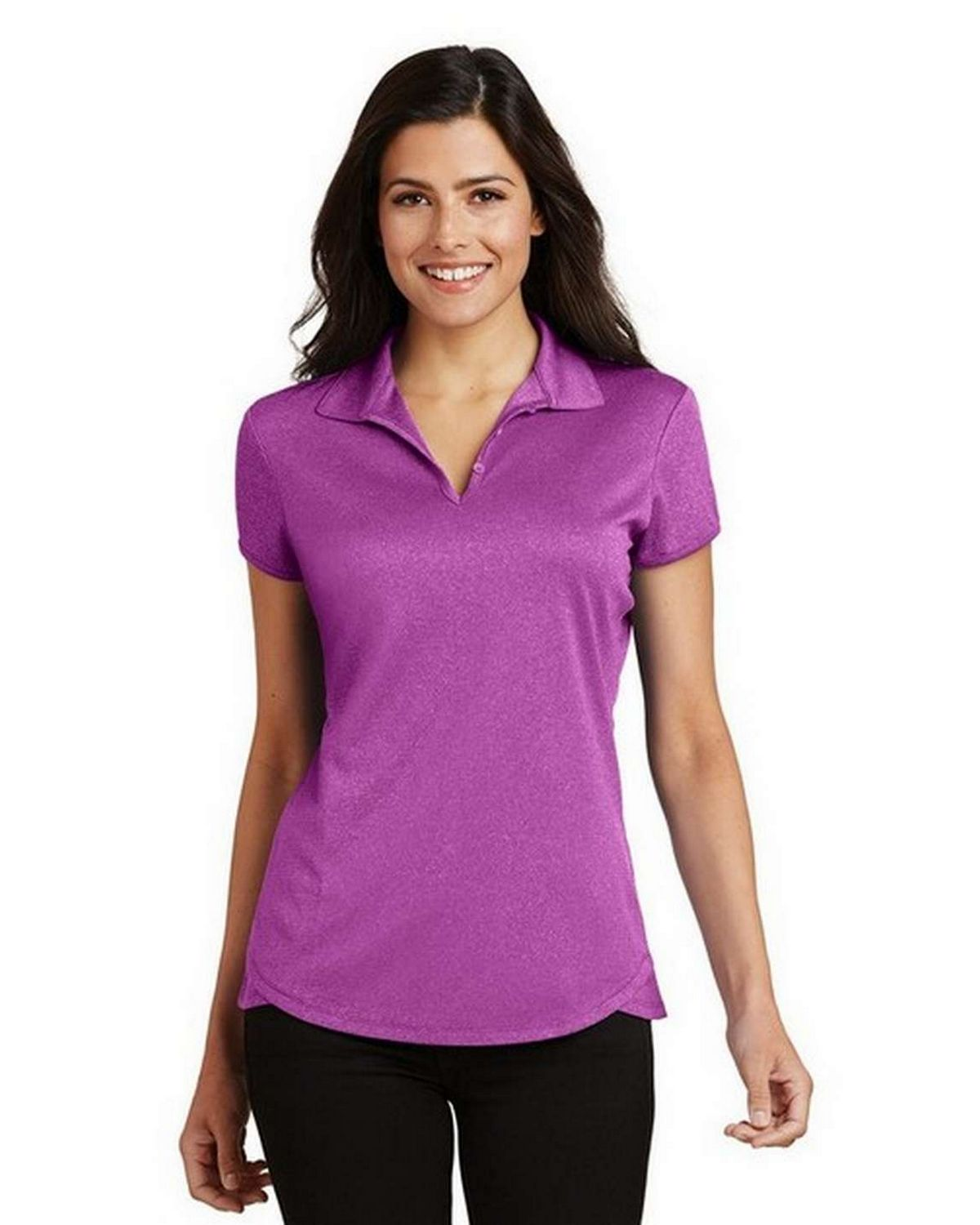 Port Authority L576 Ladies Trace Heather Polo