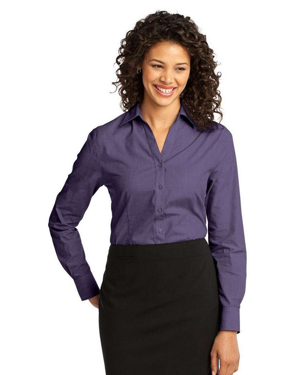 Port Authority L640 Ladies Easy Care Cross Hatch Notch Collar Shirt