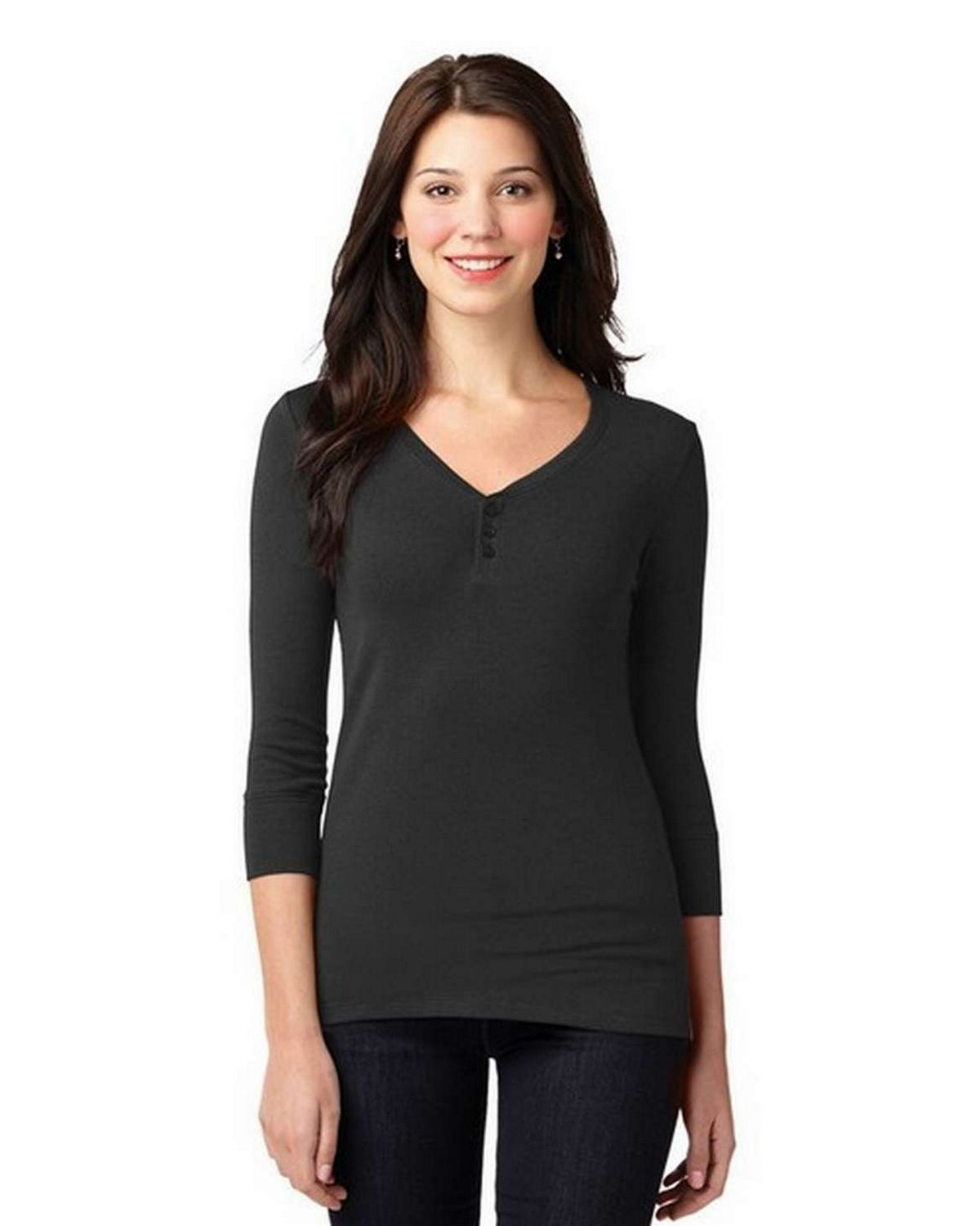 Port Authority LM1007 Ladies Concept Stretch 3/4-Sleeve Scoop Henley
