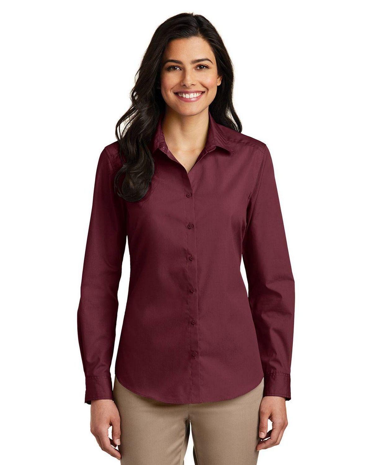 Port Authority LW100 Ladies Long Sleeve Carefree Poplin Shirt