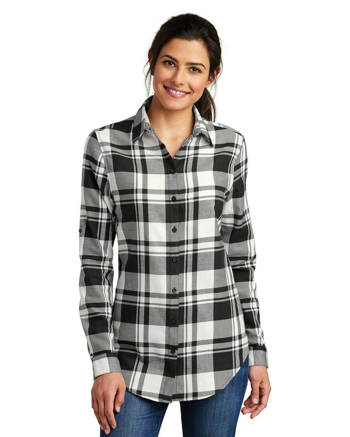 Port Authority LW668 Ladies Plaid Flannel Tunic
