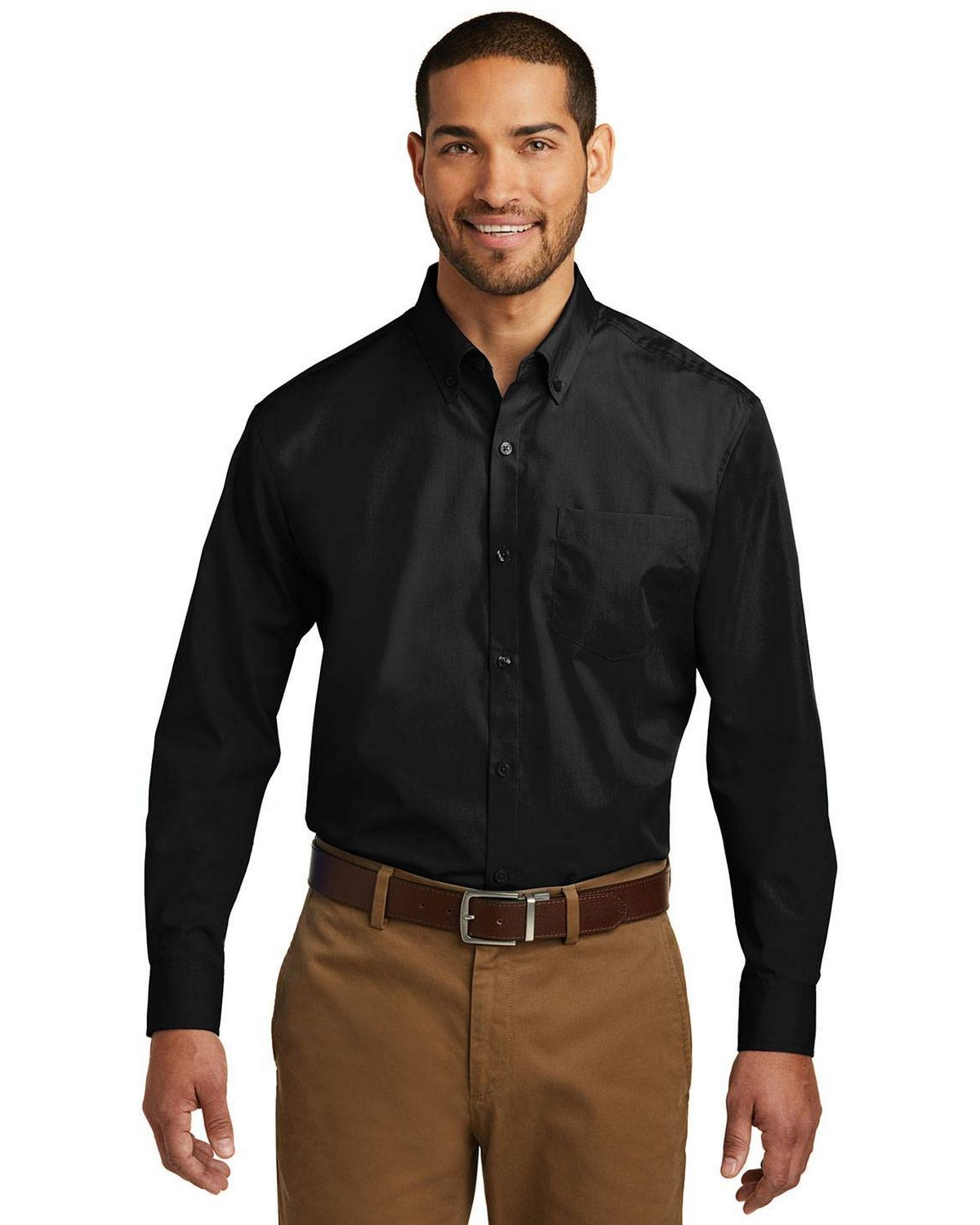Port Authority TW100 Mens Tall Long Sleeve Carefree Poplin Shirt