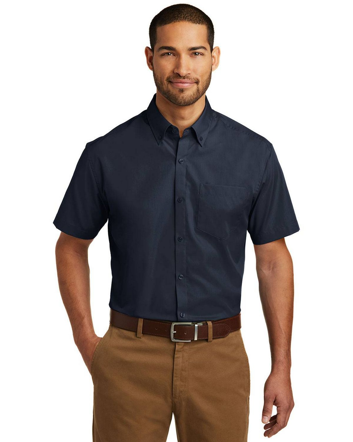 Port Authority W101 Mens Short Sleeve Carefree Poplin Shirt