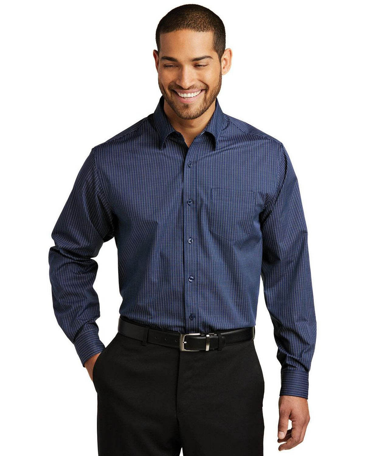 Port Authority W643 Mens Micro Tattersall Easy Care Shirt