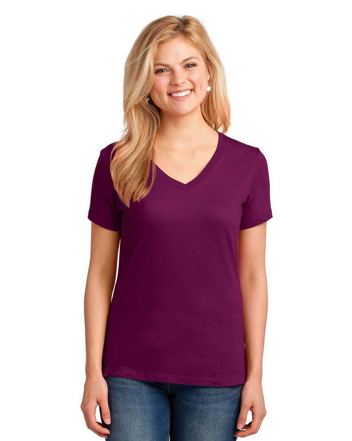 Port & Company LPC54V Ladies 100% Cotton V Neck T Shirt