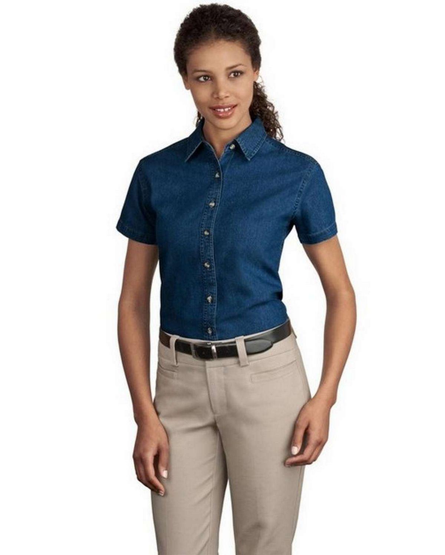 Port & Company LSP11 Ladies Short-Sleeve Value Denim Shirt