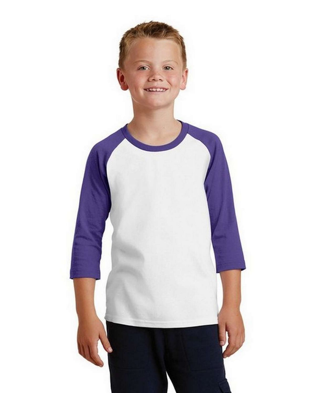 Port & Company PC55YRS Youth 50/50 Cotton/Poly 3/4-Sleeve Raglan T-Shirt