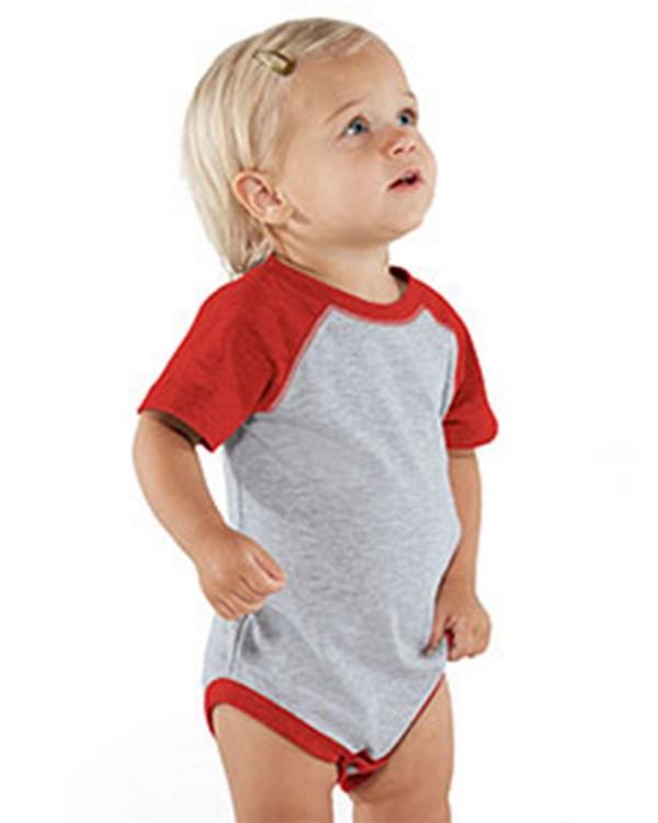 Rabbit Skins RS4430 Infant Vintage Fine Jersey Baseball Bodysuit