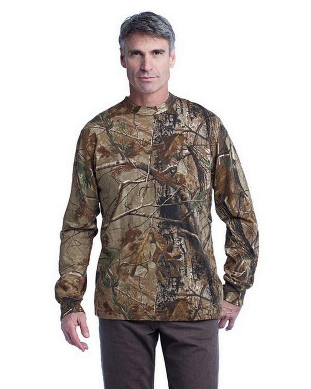Russell Outdoors S020R Realtree Long Sleeve Explorer 100% Cotton T-Shirt with Pocket