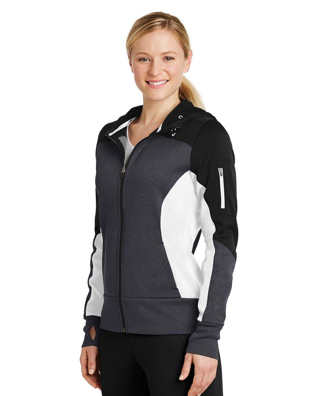 Sport-Tek LST245 Ladies Tech Fleece Colorblock Full-Zip Hooded Jacket