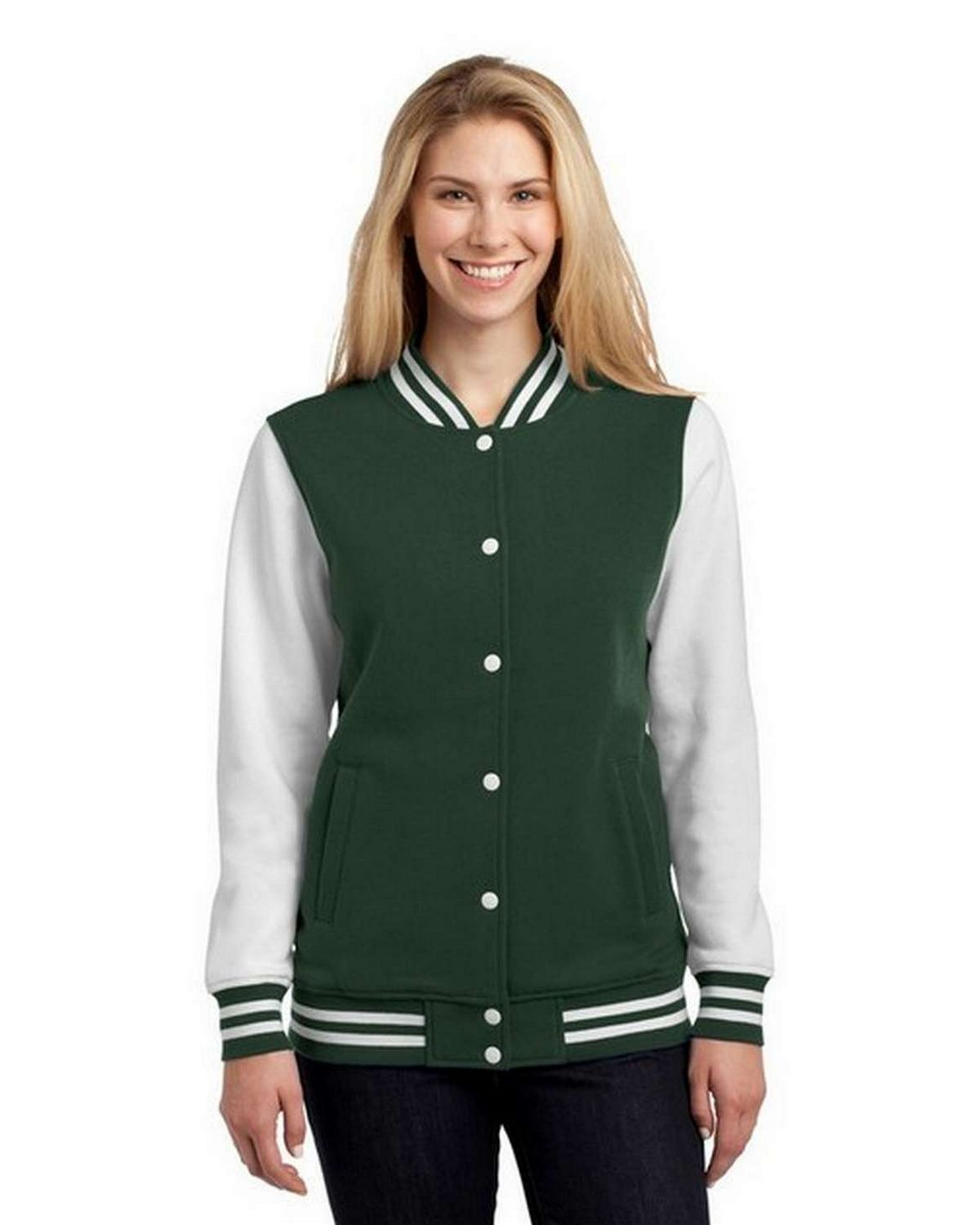 Sport-Tek LST270 Ladies Fleece Letterman Jacket